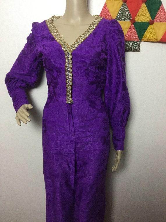 70s Purple Jumpsuit,Palazzo Jumpsuit , Gold Braid… - image 3