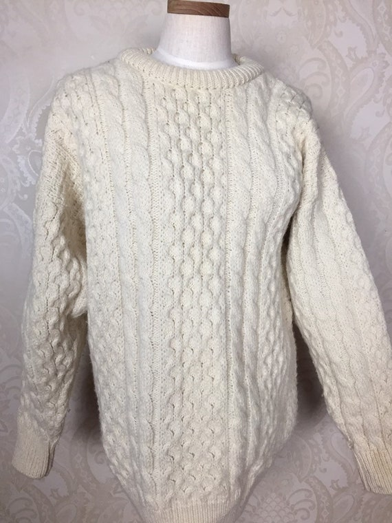 Vintage Irish sweater ,  Creamy Beige Fisherman's