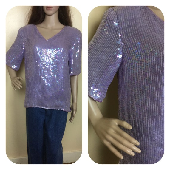 Disco Top , Vintage 80s Lilac sequin top , Mardi