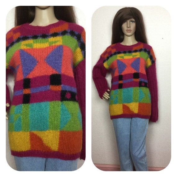 mohair sweater , 90s Colorblock MohAir Sweater, Fa