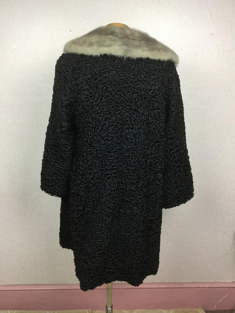 1960s Black Persian Lamb Coat 50s Heavyweight Fur Winter sm