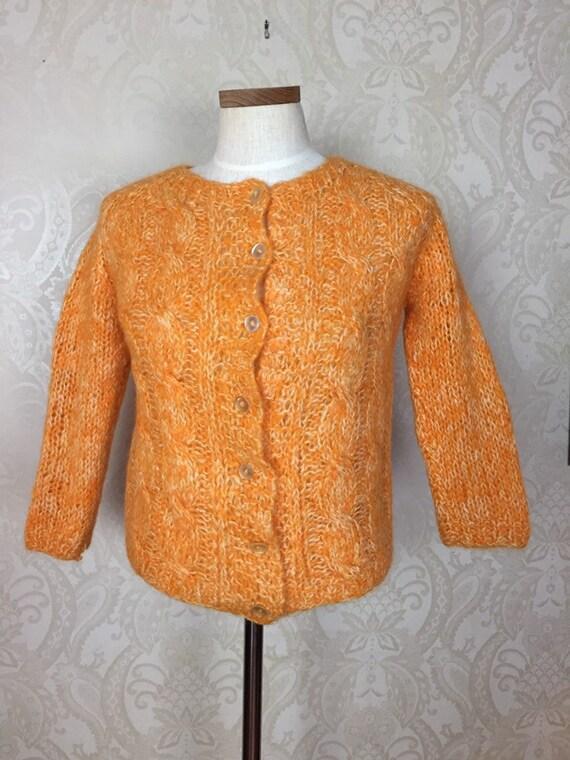 50s 60s MohairSweater,  Citrus Orange Vintage Ital
