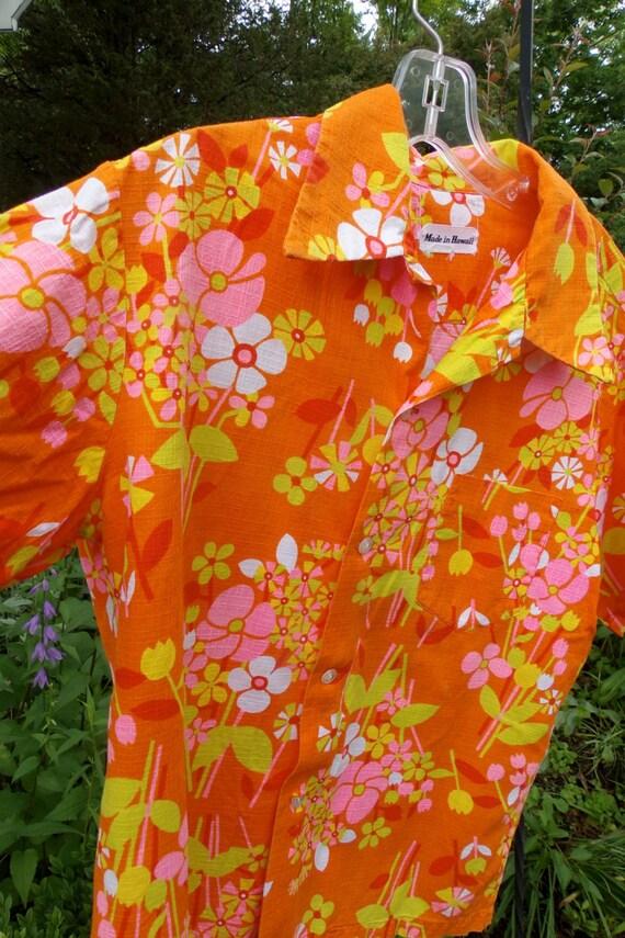 vintage 50s Aloha shirt Vibrant  HAwaiian Men's Sh