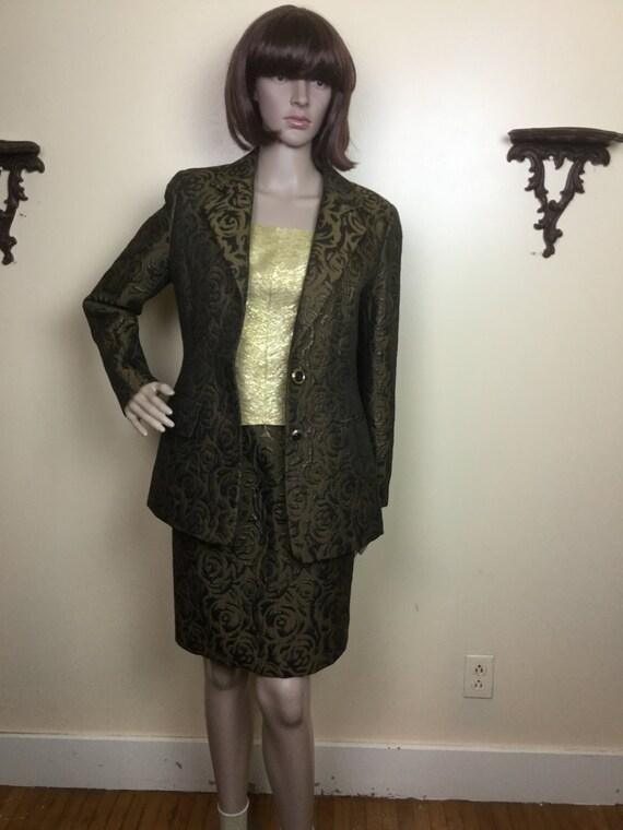 60s Brocade Suit , metallic Brocade Jacket & high… - image 4