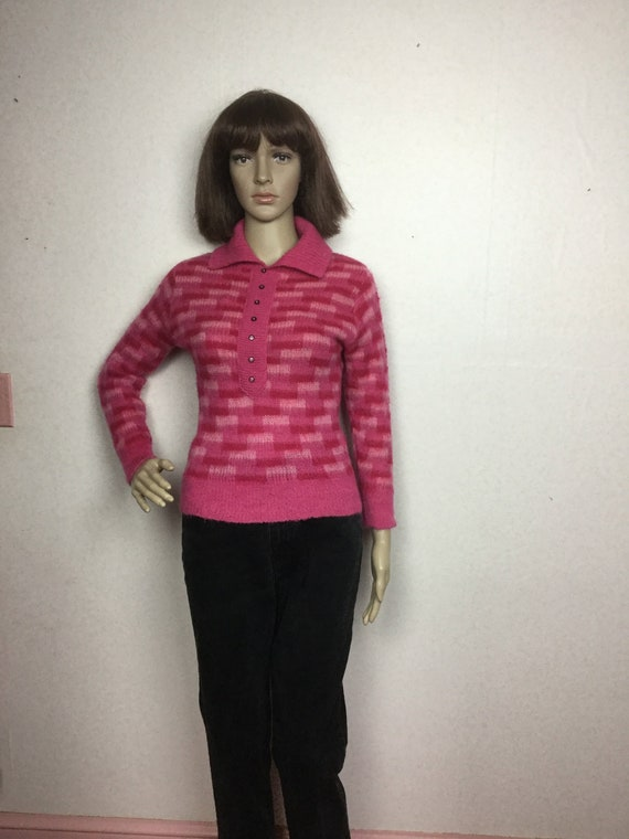 vintage 50s Hot Pink Sweater, SM ,  Bombshell  swe