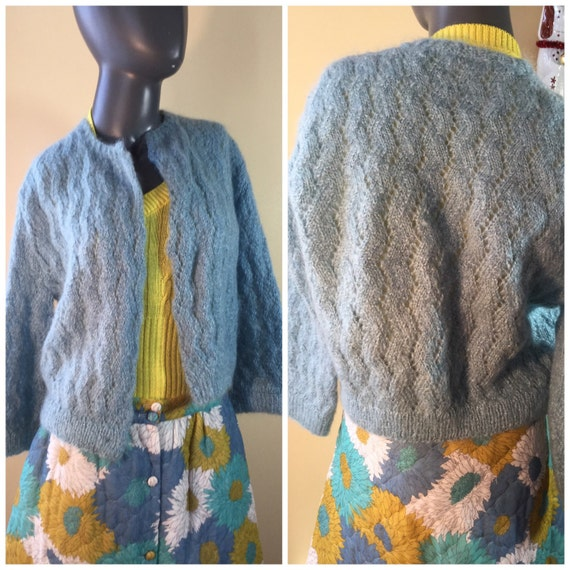 Womens Blue Cardigan Sweater , Vintage hand knit o