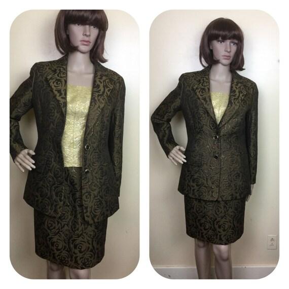 60s Brocade Suit , metallic Brocade Jacket & high… - image 5