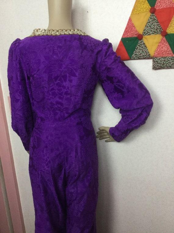 70s Purple Jumpsuit,Palazzo Jumpsuit , Gold Braid… - image 7