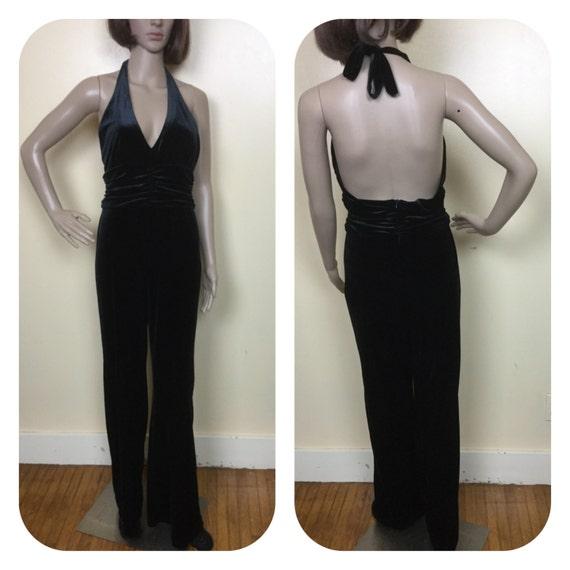Black Velvet Jumpsuit / Disco Jumpsuit/ Vintage ve