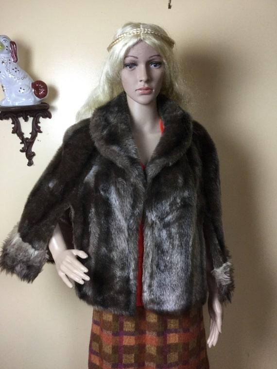 vintage fur faux fur stole cape  wedding fur  form