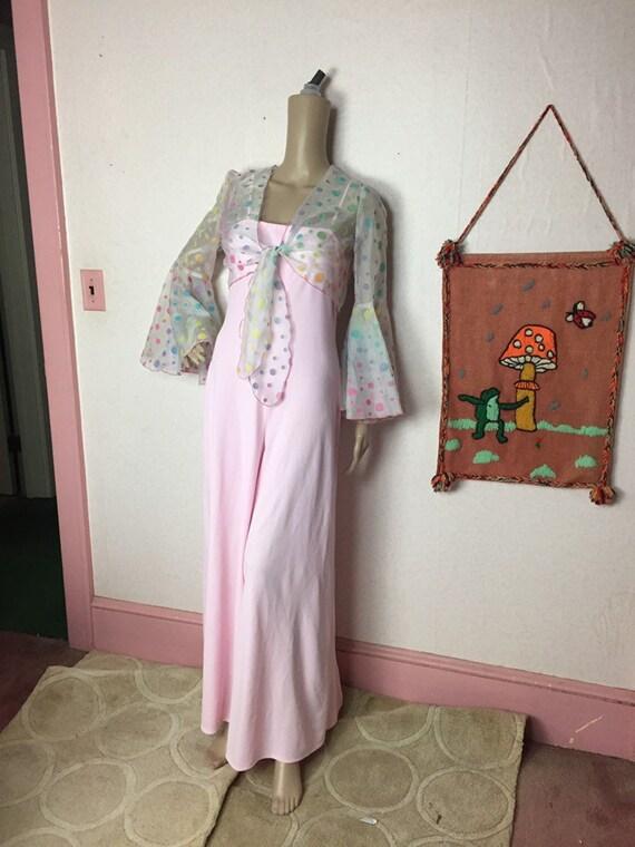 70s Pink Disco Jumpsuit, sheer polka dot crop jack