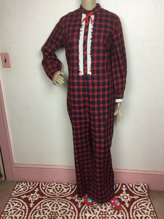 vintage 70s Red Plaid Jumpsuit, Xmas gift for her