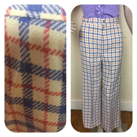 Vintage 1970s bell bottoms , plaid wool  70s Bell