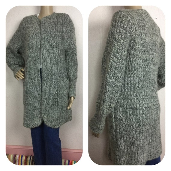SALE Vintage 80s Mohair Sweater 1980s Long Gray Ca