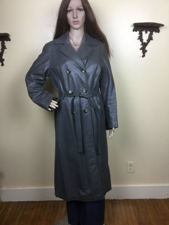 Vintage 70s Gray leather Trench Coat , 1970s Long