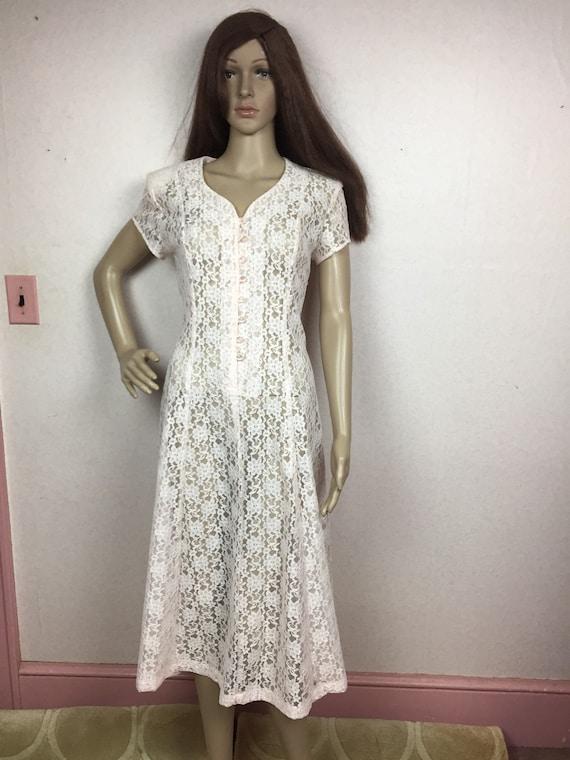 90s Pink Pastel Lace Dress,1990s Floral lace maxi