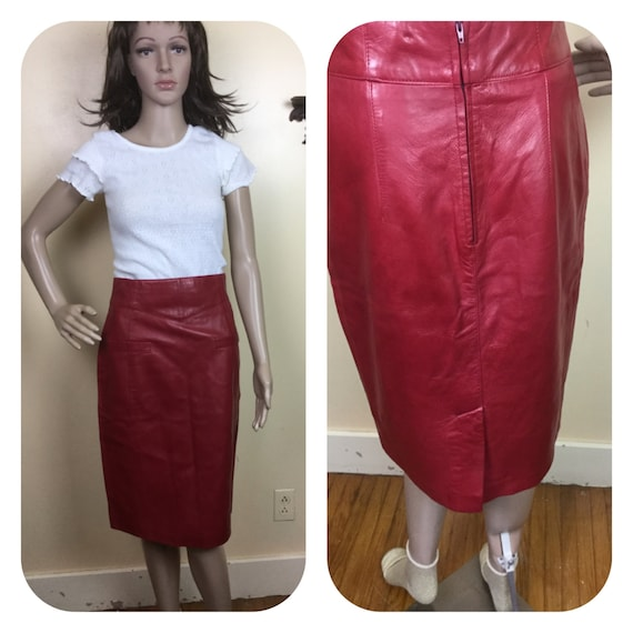 SALE Red leather  SKIRT , 80s red leather skirt  ,