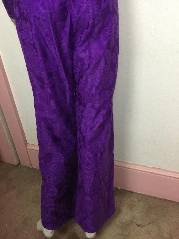 70s Purple Jumpsuit,Palazzo Jumpsuit , Gold Braid… - image 10