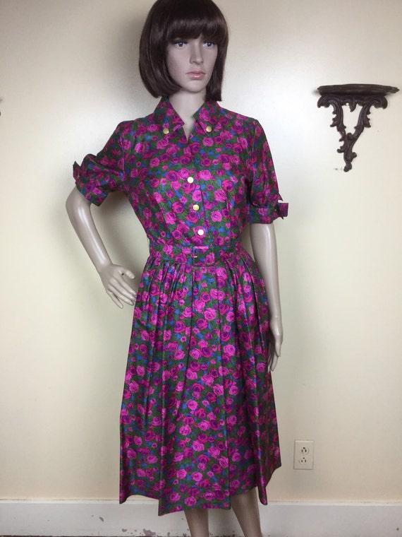 Violet  Rose dress ,Vintage 1950s Silky floral , F