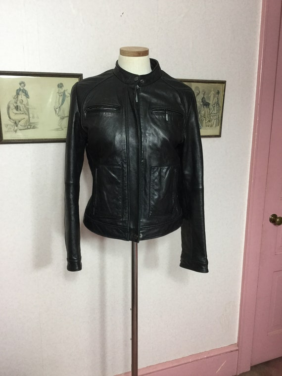 90s Leather bomber jacket