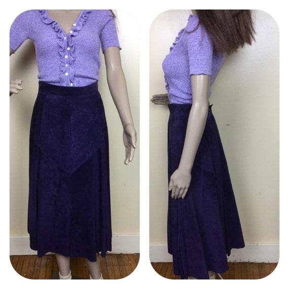 Vintage Purple  Suede Skirt ,80s suede Midi  skirt
