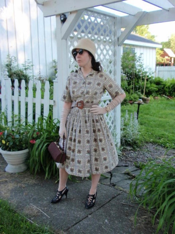 Vintage 50s Dress, 1950s Full Skirt Dress, Brown F
