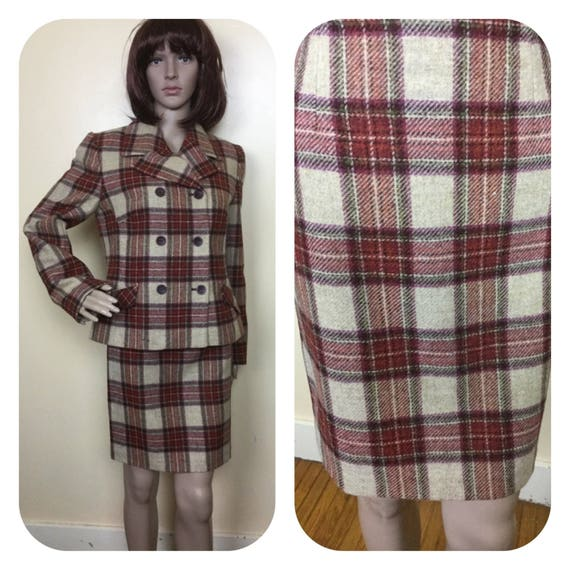 Vintage  Laura Ashley  Wool Suit , Plaid Jacket an