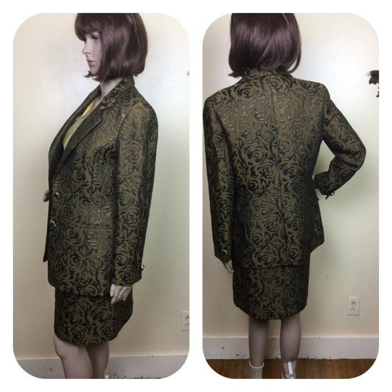 60s Brocade Suit , metallic Brocade Jacket & high