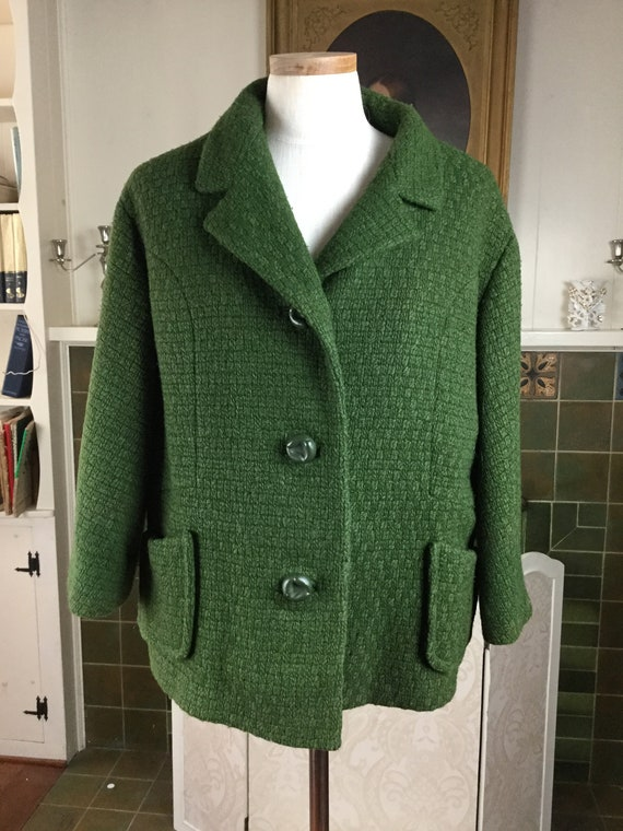 Vtge  50S Coat , Olive Green  wool 1950s COAT