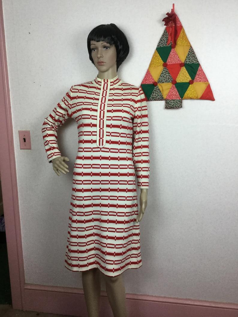 New Old Stock 1960s Mod Dress Vintage 70s Red /&White Italian Knit Dress MED