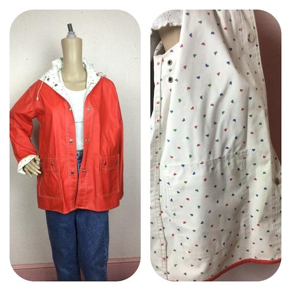 Vintage PVC  Rain Slicker/ Red Vinyl Raincoat reve