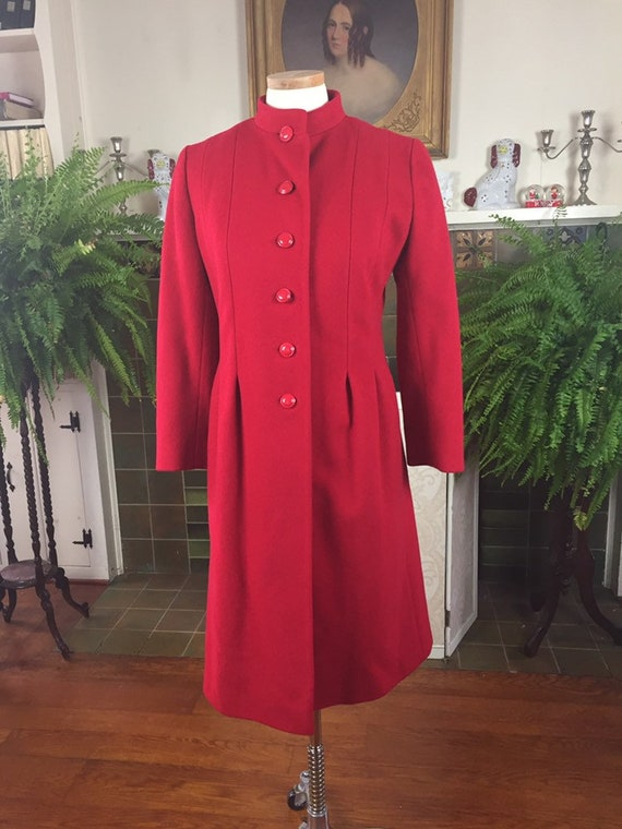 50s Red , 1950s Red wool Coat,60s Red CoAt, Gift f