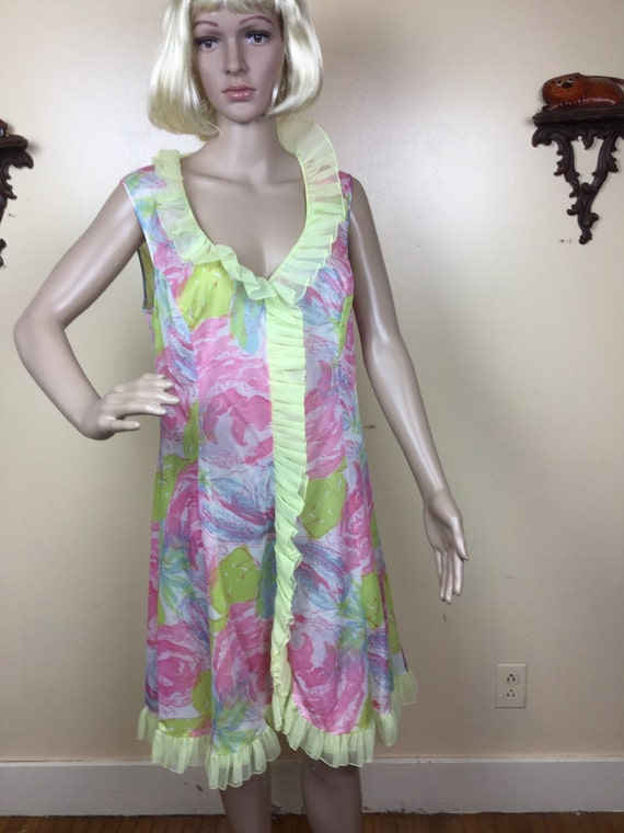 1960s  Nightgown, Vanity  Fair Floral Nightgown Br