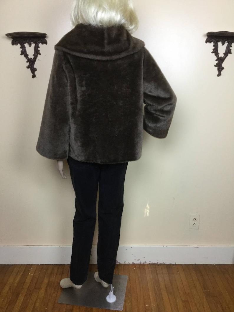 1950s Cocktail Coat 50s Outerwear brown Fur Coat 50s Fur  Jacket Vintage 1950s Brown  Faux Mutton Fur  Jacket thick Plush fur Coat
