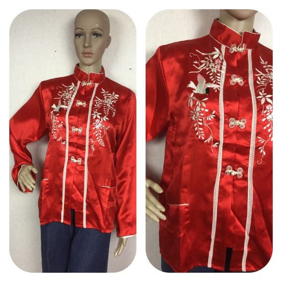 50s Red asian embroidered top  top M