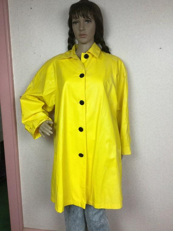 Vintage 80s vinyl Rain Slicker, Bright Yellow viny
