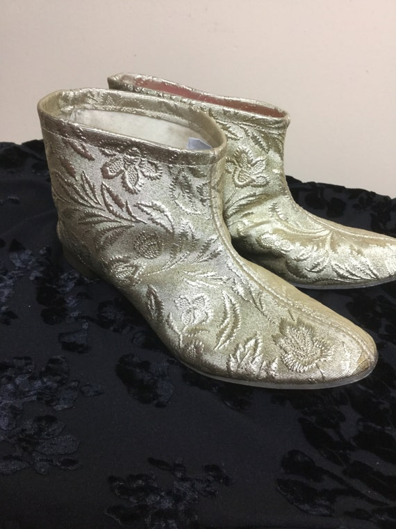 Vintage 60s gold Boots , mod Gold slippers, go go… - image 1