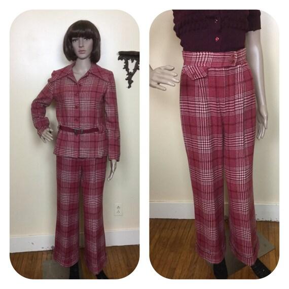 Vintage 70s 2 Piece suit , Cranberry  Plaid Jacket
