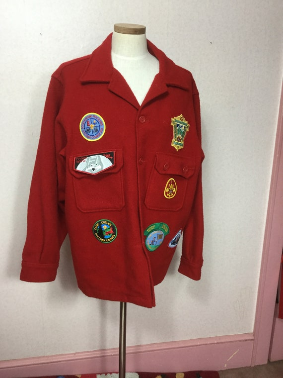 Vintage  Red wool men's Jacket  Chore  Boy Scout