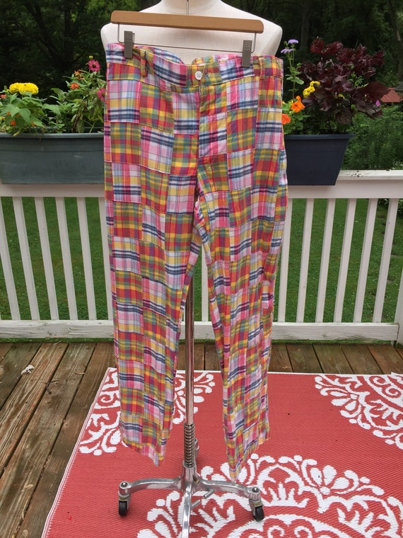 70s Patchwork BellBottoms,  1970s quilt square cot