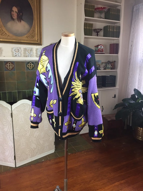 Vintage Royal graphics , 90s novelty  Cardigan , S