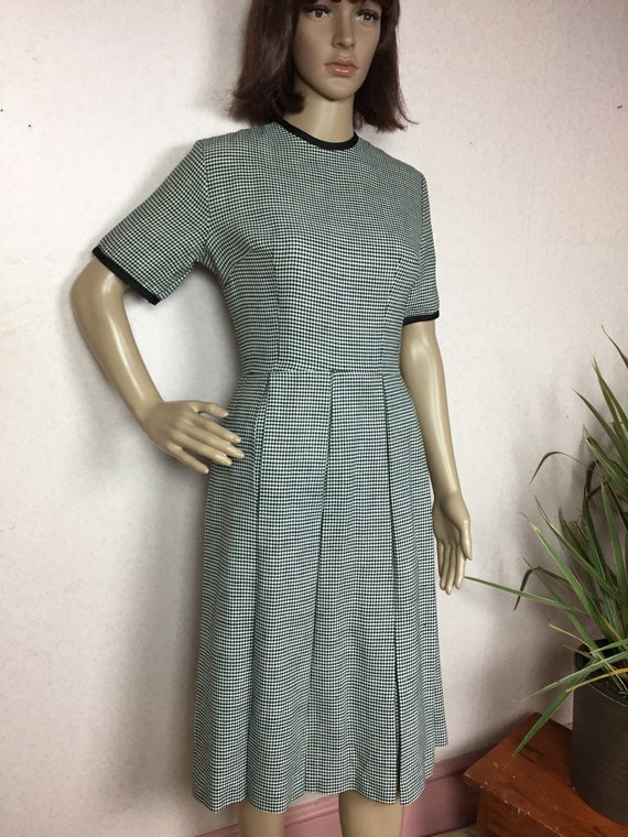 50s Black &White Houndstooth Dress, 60s Pleated Vi