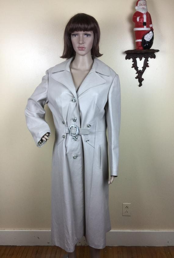 70s Gray leather coat, Vintage Leather Trenchcoat