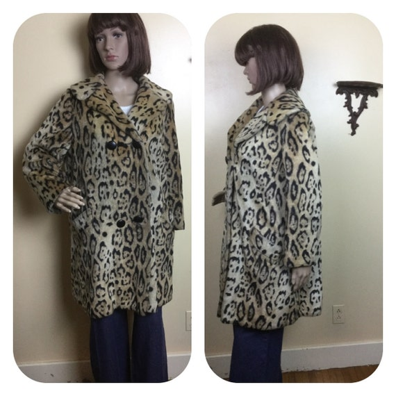50S Coat / LEOPARD Faux Fur Coat, 50s  faux fur co
