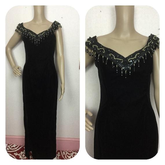 Jessica McClintock Velvet Gown , 80s Vintage Long