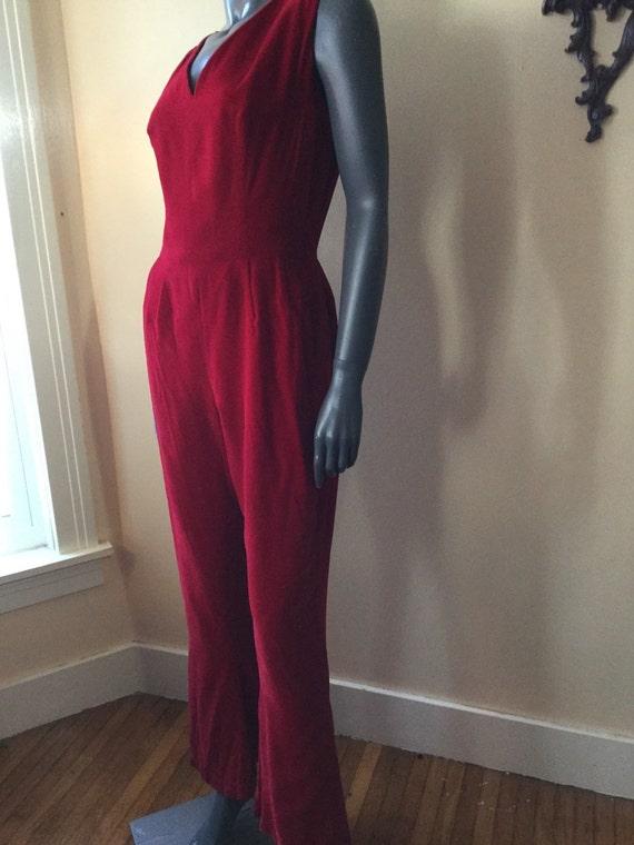 Vintage 60s Red Velvet Jumpsuit , Sm