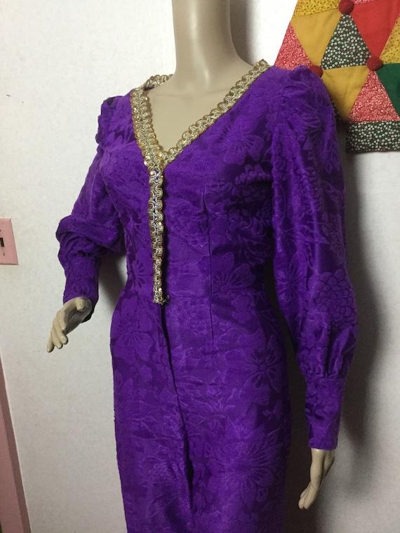 70s Purple Jumpsuit,Palazzo Jumpsuit , Gold Braid… - image 5