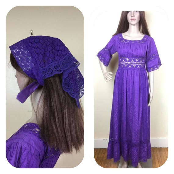 Purple Mexican  Dress & Scarf ,SM 1970S mexican fo