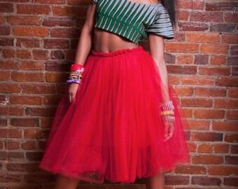 Midi Length Tulle Skirt