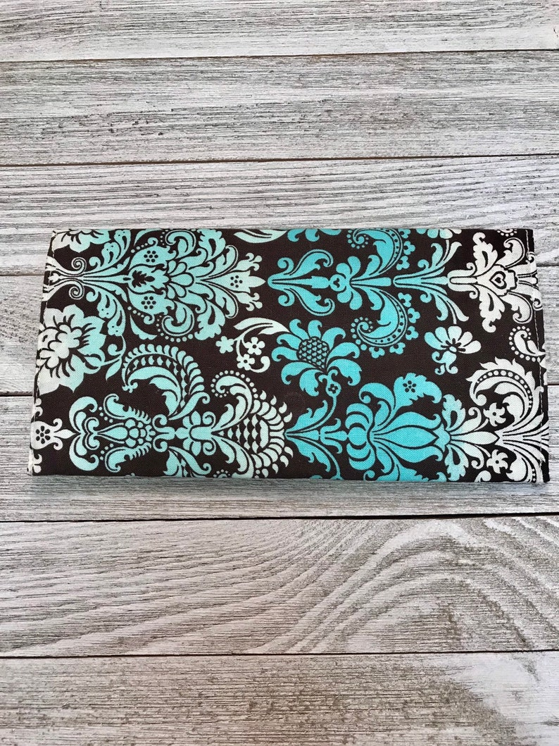 Baroque Print Women/'s Wallet in Brown and Teal Ombre